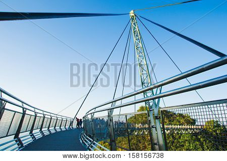 Photo of the Construction famous langkawi bridge in sunset time. Adventure holiday. Modern construction. Tourist attraction. Travel concept. Cable-stayed bridge. Malaysia
