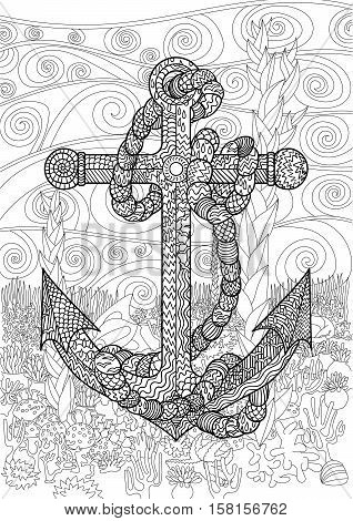 Black and white illustration of an anchor and rope in the zen tangle style. Underwater seascape for relax coloring. Adult antistress coloring page. Vector.
