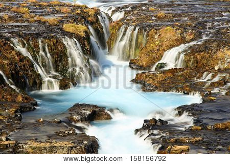 Bruarfoss Waterfall in the middle of Iceland