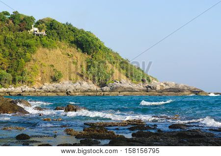 a view from Leam Phomthep Cape to leaft side on sunny day Phuket Thailand