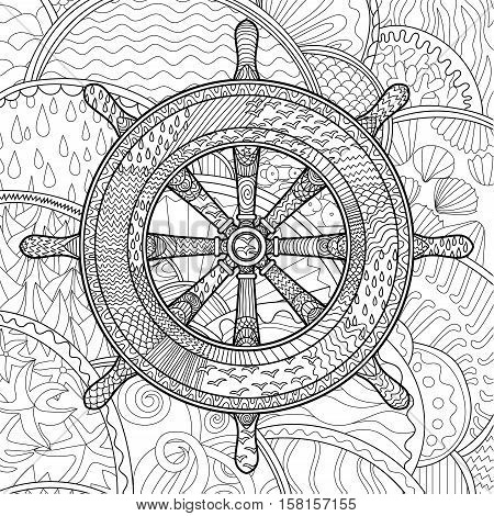 Hand drawn illustration of an helm. Adult antistress coloring page with marine handwheel. Abstract pattern with oceanic elements for relax coloring for grown ups in zentangle style. Vector