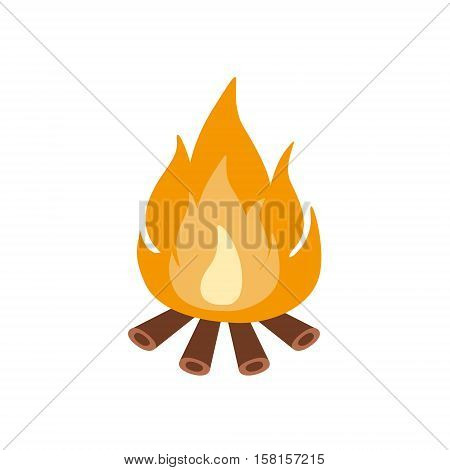 Bonfire Burning On Firewood In The Camp, Camping And Hiking Outdoor Tourism Related Item Isolated Vector Illustration. Part Of Forest Touristic Adventures Objects Collection In Cute Flat Design.