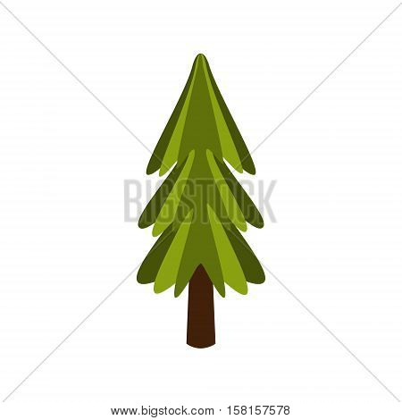 Standalone Fir Tree, Camping And Hiking Outdoor Tourism Related Item Isolated Vector Illustration. Part Of Forest Touristic Adventures Objects Collection In Cute Flat Design.