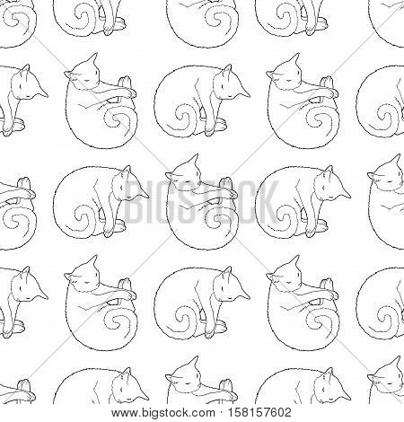 Black and white seamless pattern with pets. Childish coloring page with cat. Monochrome tile texture for wrapping or scrapbook paper. Vector illustration.