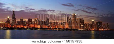 Chicago Skyline Panorama at Dusk, United States