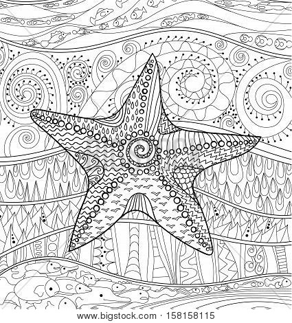 Starfish with high details. Adult antistress coloring page. Black white sea animal. Abstract pattern with oceanic elements for relax coloring for grown ups in zentangle style. Vector illustration.