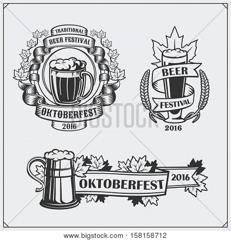 Retro labels for Oktoberfest with beer mugs and glasses.
