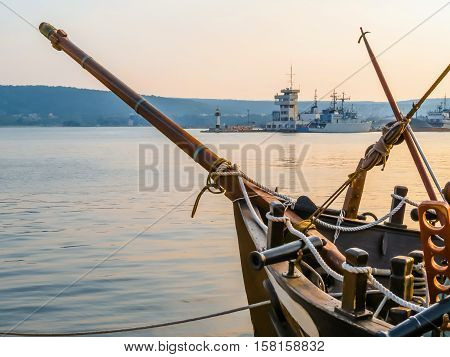 Sea Port Varna and old sailing ship