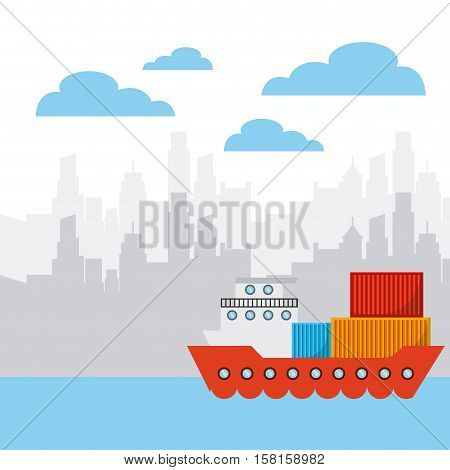 cargo ship with container over the city background. export and import concept. colorful design. vector illustration