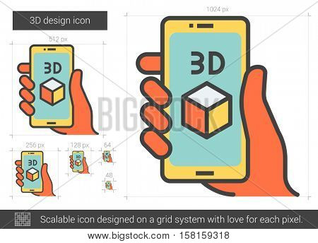 Three d design vector line icon isolated on white background. Three d design line icon for infographic, website or app. Scalable icon designed on a grid system.