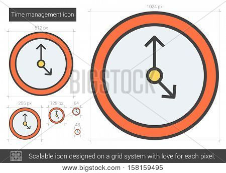Time management vector line icon isolated on white background. Time management line icon for infographic, website or app. Scalable icon designed on a grid system.