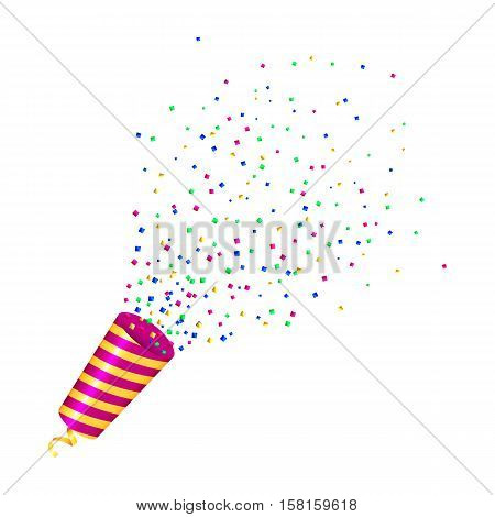 Exploding party popper with contetti on white background