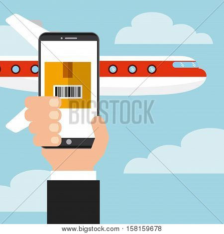 airplane flying and hand holding a smartphone with carton box on screen. export and import concept. colorful design. vector illustration