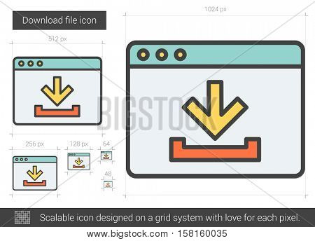 Download file vector line icon isolated on white background. Download file line icon for infographic, website or app. Scalable icon designed on a grid system.