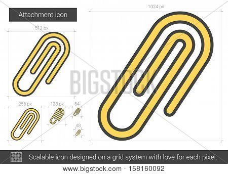 Attachment vector line icon isolated on white background. Attachment line icon for infographic, website or app. Scalable icon designed on a grid system.