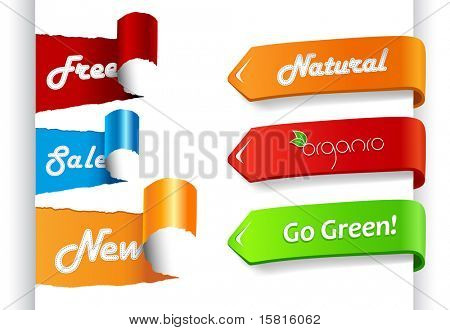 Set of colored sale labels on paper.