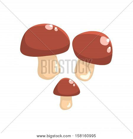 Three Brown Cap Cepe Mushrooms Isolated Element Of Forest Landscape Design For The Flash Game Landscaping Purposes. Video Game Details For The Woodland Level Vector Cartoon Illustration.