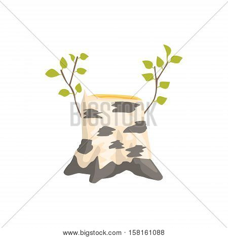 Birch Tree Stump With The Fresh Growth Isolated Element Of Forest Landscape Design For The Flash Game Landscaping Purposes. Video Game Details For The Woodland Level Vector Cartoon Illustration.