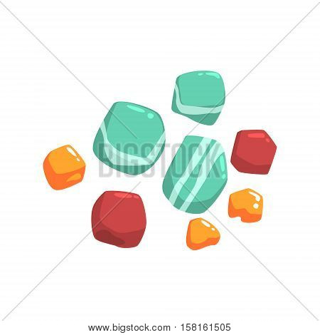 Set Of Semiprecious Blue, Red And Orange Stones Isolated Element Of Forest Landscape Design For The Flash Game Landscaping Purposes. Video Game Details For The Woodland Level Vector Cartoon Illustration.