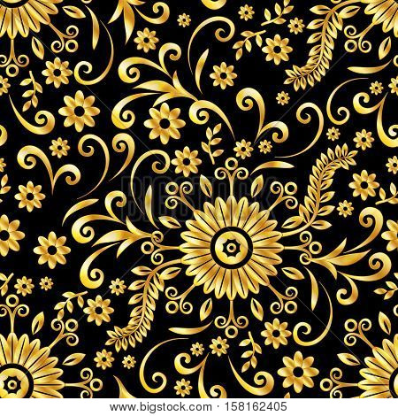 Abstract Seamless Background with Symbolical Gold Floral Patterns, Shining Colorful Ornament, Flowers and Leaves on Black. Eps10, Contains Transparencies. Vector