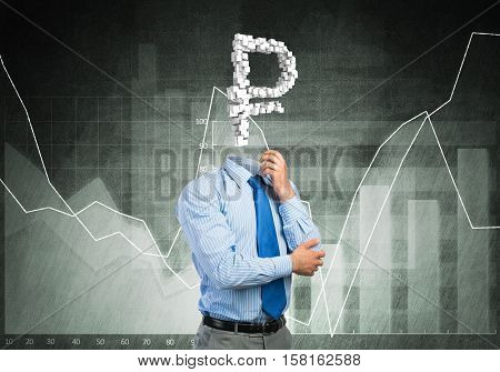Faceless businessman with rouble sign instead of head