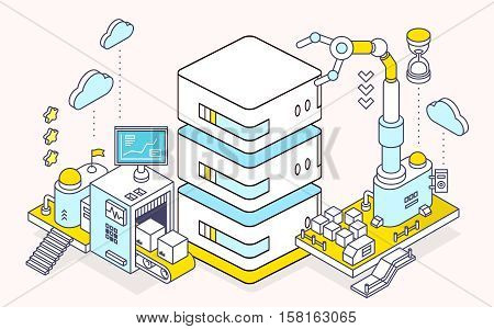 Vector Illustration Of Server And Three Dimensional Mechanism With Conveyor And Robotic Hand On Ligh