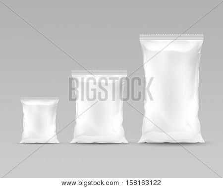 Vector Set of Vertical Sealed Empty Plastic Foil Bags of Different Size for Package Design with Serrated  Edges Front View Close up Isolated on White Background.