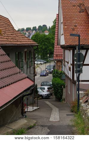 MOENSHEIM PFORZHEIM GERMANY - April 29. 2015: Monsheim is a town or village in the district of Enz in Baden-Wuerttemberg in southern Germany.