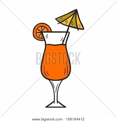 Vector cartoon illustration with isolated hand drawn cute orange exotic cocktail with umbrella. Vector tropical fruit beverage. Alcoholic or non-alcoholic drink. Fresh orange juice in tall glass