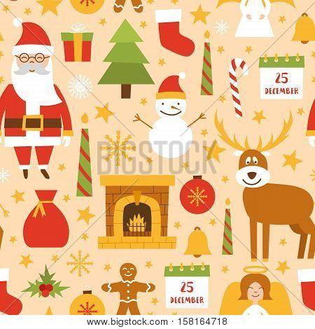 Vector Cartoon Christmas, New Year Background