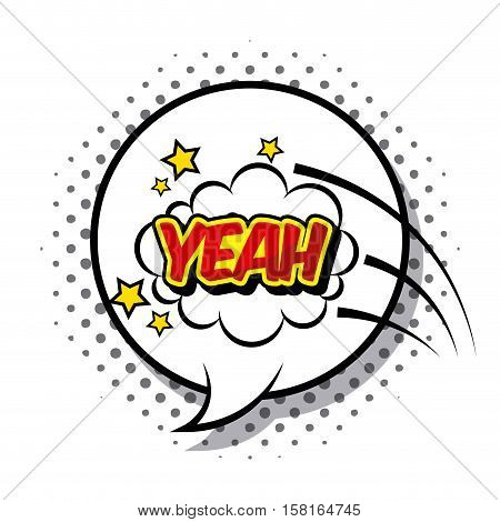 speech bubble with yeah word over white background. comic and pop art concept. vector illustration