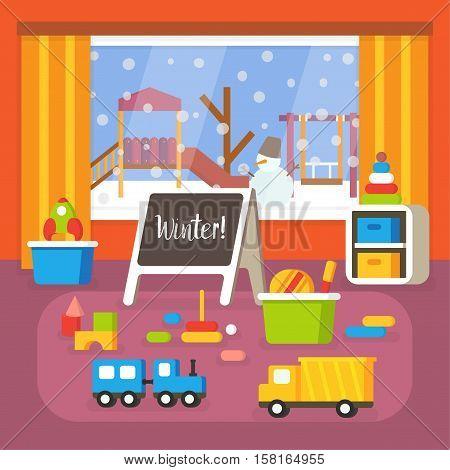Kindergarten classroom at winter, preschool room interior. Flat design vector illustration.