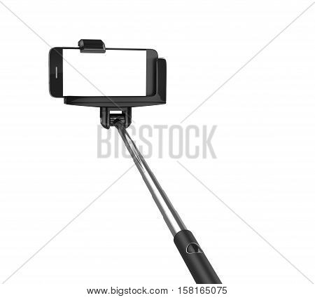 an extendable selfie stick with an adjustable clamp on the end hold the phone on a white background. 3d illustration