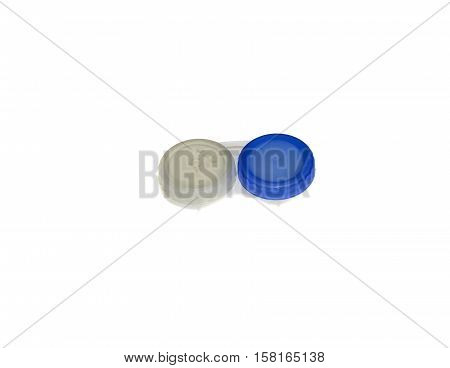 Closed contact lens case isolated on white background