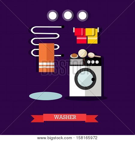 Vector illustration of washer and accessories for laundry in flat style. Bathroom interior design element.