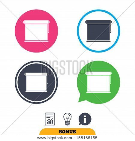Louvers rolls sign icon. Window blinds or jalousie symbol. Report document, information sign and light bulb icons. Vector