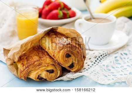 French viennoiserie croissant pain au chocolat for breakfast
