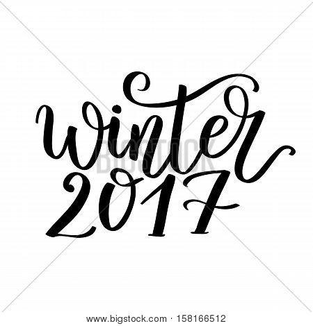 Hello Winter Text.  Brush Lettering Hello Winter.  Card Design With Custom Calligraphy. Winter Seaso