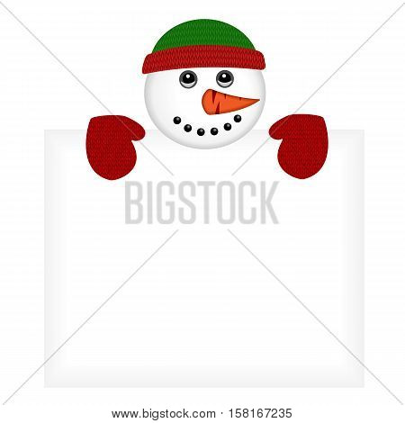 Snowman wearing knitted hat and gloves standing behind a blank banner isolated on white