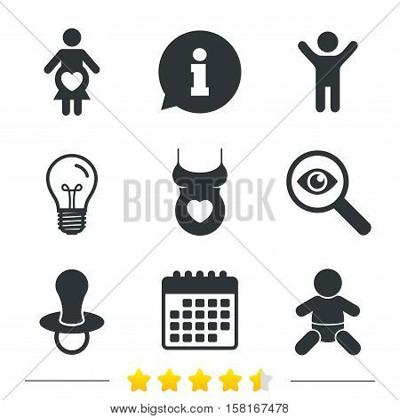 Maternity icons. Baby infant, pregnancy and dummy signs. Child pacifier symbols. Shirt with heart. Information, light bulb and calendar icons. Investigate magnifier. Vector