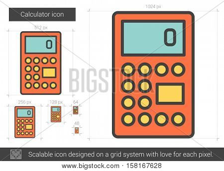 Calculator vector line icon isolated on white background. Calculator line icon for infographic, website or app. Scalable icon designed on a grid system.