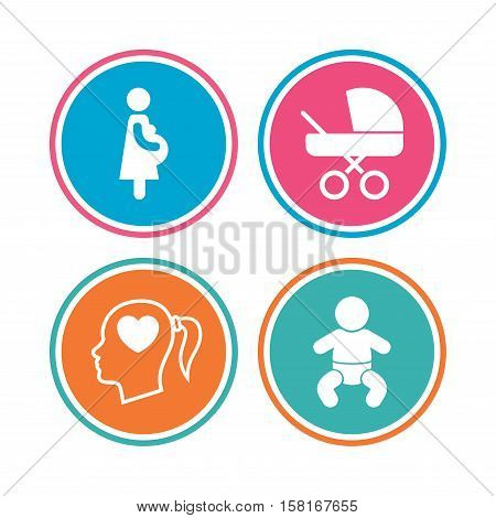 Maternity icons. Baby infant, pregnancy and buggy signs. Baby carriage pram stroller symbols. Head with heart. Colored circle buttons. Vector