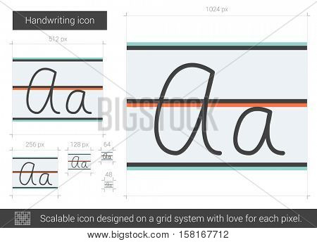 Handwriting vector line icon isolated on white background. Handwriting line icon for infographic, website or app. Scalable icon designed on a grid system.