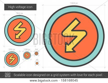High voltage vector line icon isolated on white background. High voltage line icon for infographic, website or app. Scalable icon designed on a grid system.