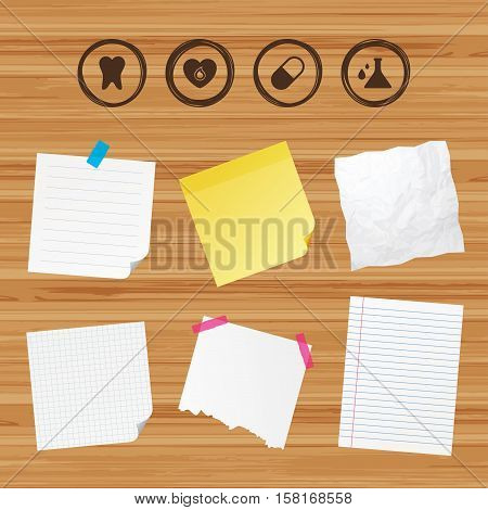 Business paper banners with notes. Maternity icons. Pill, tooth, chemistry and heart signs. Blood donation symbol. Lab bulb with drops. Dental care. Sticky colorful tape. Vector