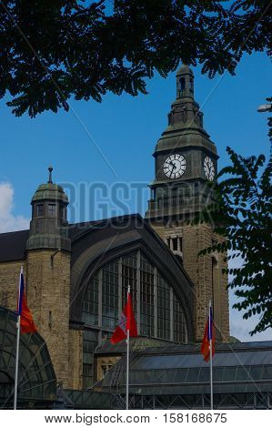 HAMBURG GERMANY - JULY 18 2015: Hauptbahnhof in Hamburg Germany. It is the main railway station in the city the busiest in the country and the second busiest in Europe.