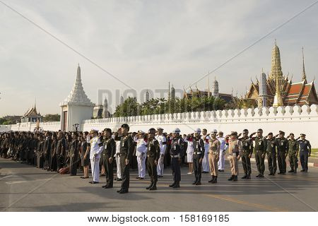 BANGKOK THAILAND - NOV 22 : The national ceremony for king loyalty in Rama 9 at ministry of Defence while the funeral of king Bhumibol Adulyadej in Grand Palace on november 22 2016