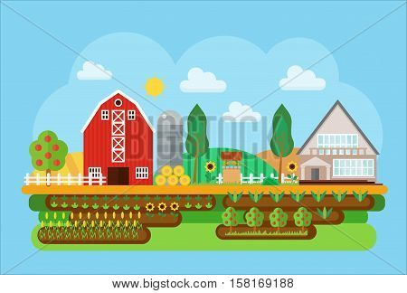 Vector agricultural village landscape flat concept illustration. Village barn, warehouse buildings with sown field and fruits tree. Agricultural Cityscape little town landscape