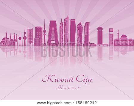 Kuwait City V2 Skyline In Purple Radiant Orchid