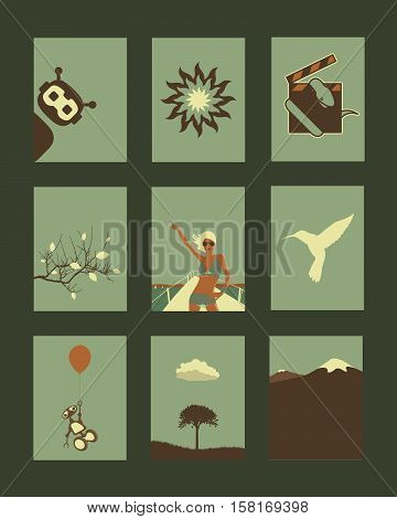 Vector Retro Abstract Objects and Natural Illustrations Collection